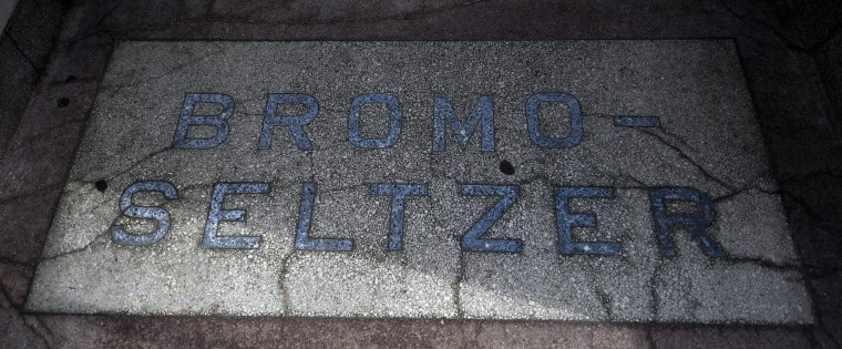 A marble slab notates the entrance to the Bromo Seltzer building at the corner of Lombard and Eutaw Streets.    (Barbara Haddock Taylor/Baltimore Sun)