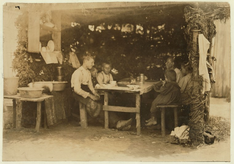 Noon hour on berry farm, Bottomley's near Baltimore, Md. The dinning room. (See report July 10, 1909). Location: Baltimore, Maryland. (Lewis Hine/Photo courtesy LOC)