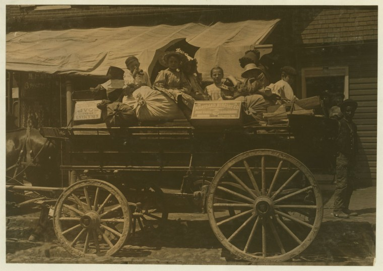 Off to the berry farms of Maryland. Taken on Fell Point, Baltimore, Md. 1910 May. Courtesy of Maryland Child Labor Committee. Location: Baltimore, Maryland. (Lewis Hine/Photo courtesy LOC)