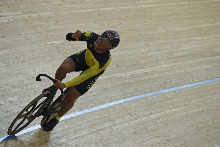 Malaysia's Mohd Azizulhasni Awang reacts after winning the final of the men's keirin 1-6 event at the Hong Kong Velodrome during the Track Cycling World Championships in Hong Kong on April 13, 2017. (Anthony Wallace/AFP/Getty Images)