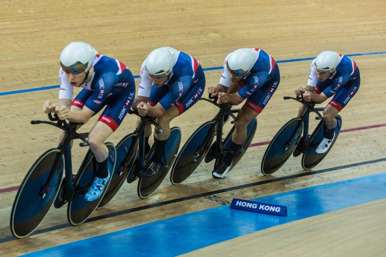 Members of the British cycling team compete in the Men's Team Pursuit final at the Hong Kong Velodrome during the 2017 Track Cycling World Championships in Hong Kong on April 13, 2017. (Isaac Lawrence/AFP/Getty Images)