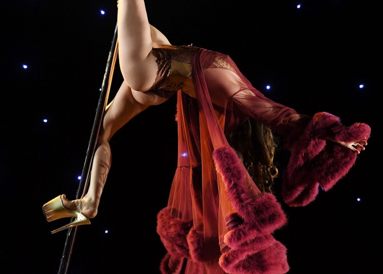 Kerri N'Fuego competes in the 'Exotic' performance category during the 2017 Pacific Pole Championships at the Convention Center in Los Angeles, California on April 9, 2017. Combining dance and acrobatics, originally began as entertainment in strip clubs, pole dancing soon became mainstream as a form of exercise and expression. Competitions are now held in countries throughout the world and has a participant level estimated at over 30,000 in the US. (Mark Ralston/AFP/Getty Images)