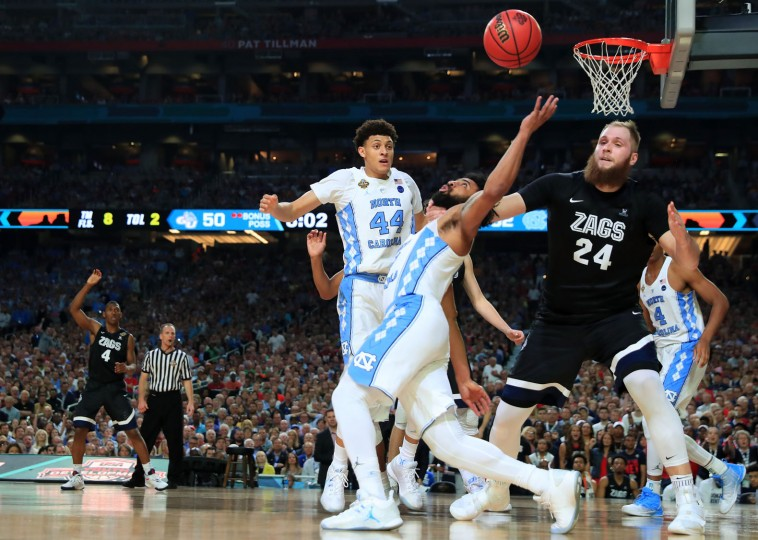Joel Berry II #2 of the North Carolina Tar Heels and Przemek Karnowski #24 of the Gonzaga Bulldogs compete for the ball in the second half during the 2017 NCAA Men's Final Four National Championship game at University of Phoenix Stadium on April 3, 2017 in Glendale, Arizona. (Photo by Tom Pennington/Getty Images)