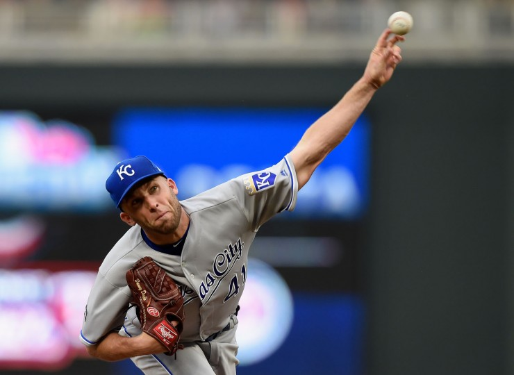 Danny Duffy #41 of the Kansas City Royals delivers a pitch against the Minnesota Twins during the first inning of the Opening Day game on April 3, 2017 at Target Field in Minneapolis, Minnesota. (Photo by Hannah Foslien/Getty Images)
