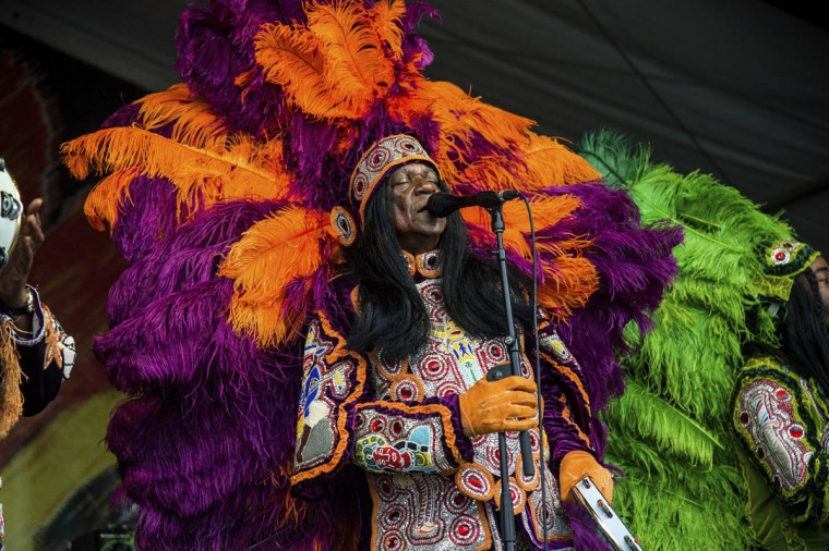 Big Chief Monk Boudreaux of Big Chief Monk Boudreaux & the Golden Eagles Mardi Gras Indians performs at the New Orleans Jazz and Heritage Festival on Sunday, April 30, 2017, in New Orleans. (Amy Harris/Invision/AP)