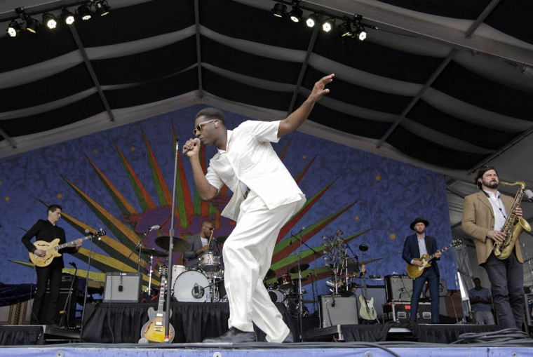 Leon Bridges performs during the New Orleans Jazz and Heritage Festival at the Fair Grounds in New Orleans on Friday, April 28, 2017. (Brett Duke/NOLA.com The Times-Picayune via AP)