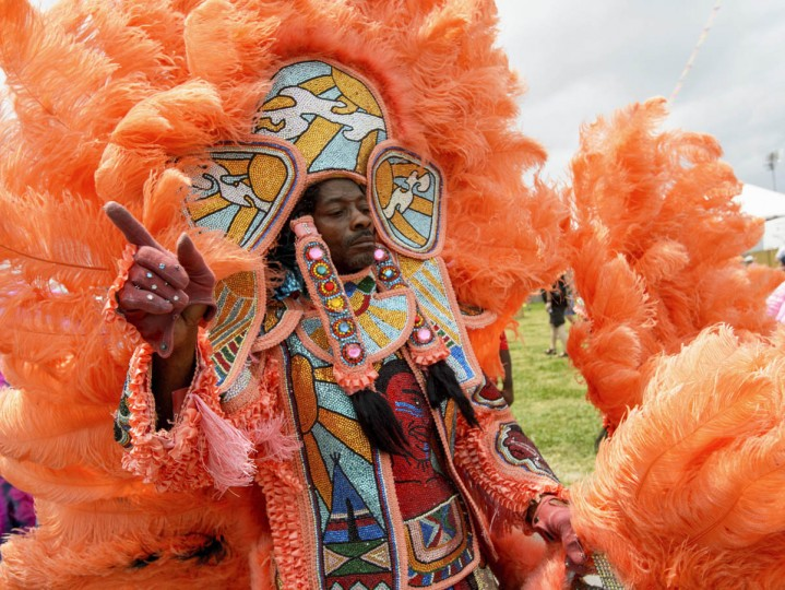 Members of the Black Mohawk and Black Foot Hunters Mardi Gras Indians parade at the New Orleans Jazz and Heritage Festival 2017 at the Fair Grounds in New Orleans, La. Friday, April 28, 2017. (Matthew Hinton/The Advocate via AP)