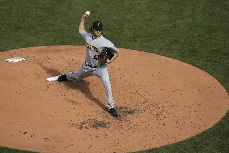 Pittsburgh Pirates starting pitcher Gerrit Cole delivers to the plate in the fourth inning of a baseball game against the Boston Red Sox on opening day at Fenway Park, Monday, April 3, 2017, in Boston. (AP Photo/Steven Senne)