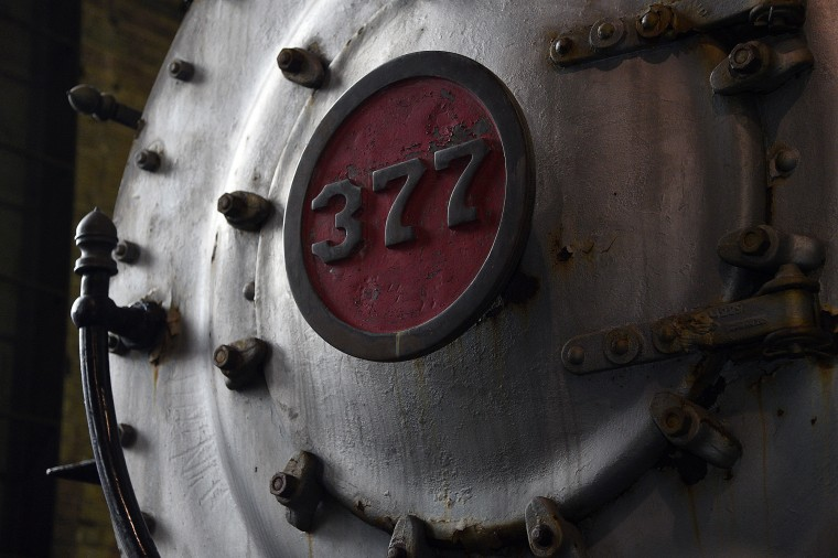 Built in 1902 for the Cincinnati, Richmond and Muncie Railroad, the 377 is a ten-wheeler steam locomotive that is on display at the B&O Railroad Museum. This is a detail from the smoke box door on the locomotive front. (Barbara Haddock Taylor/Baltimore Sun)