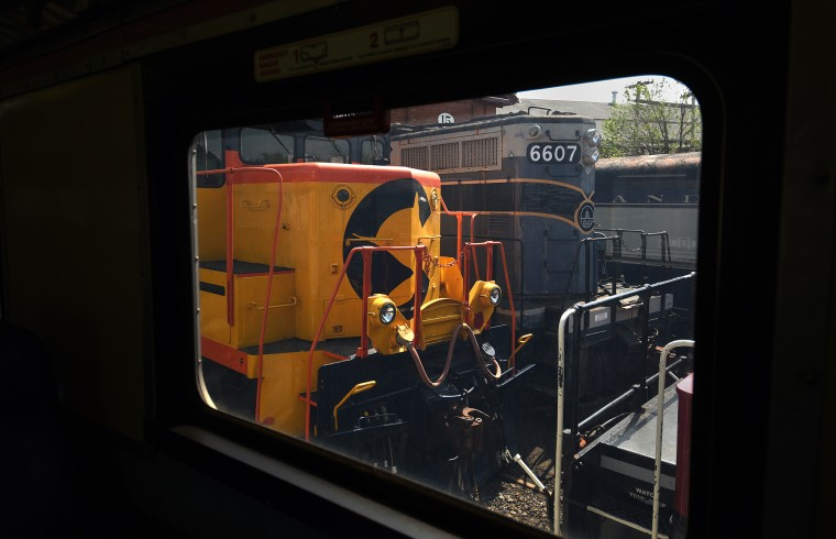 Trains are viewed through a passenger car window during the train ride at the B&O Railroad Museum. (Barbara Haddock Taylor/Baltimore Sun)