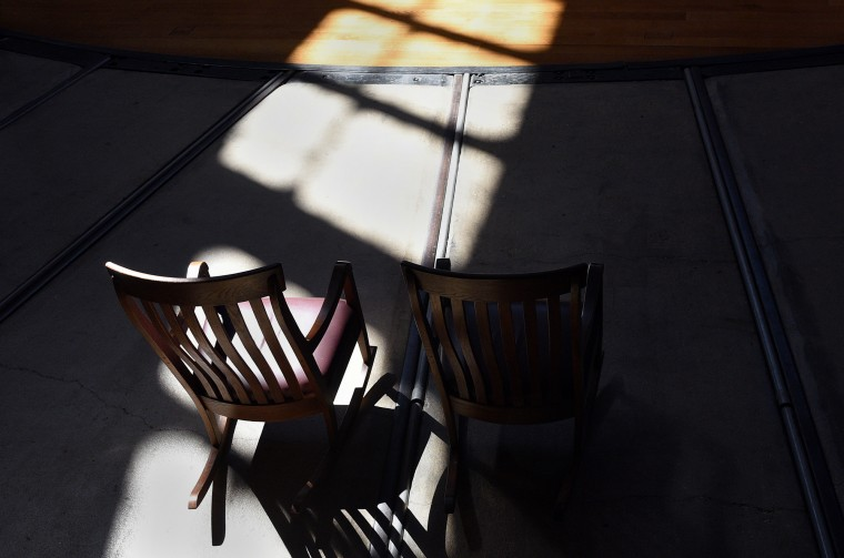 Rocking chairs are available for guests in the roundhouse at the B&O Railroad Museum.  (Barbara Haddock Taylor/Baltimore Sun)