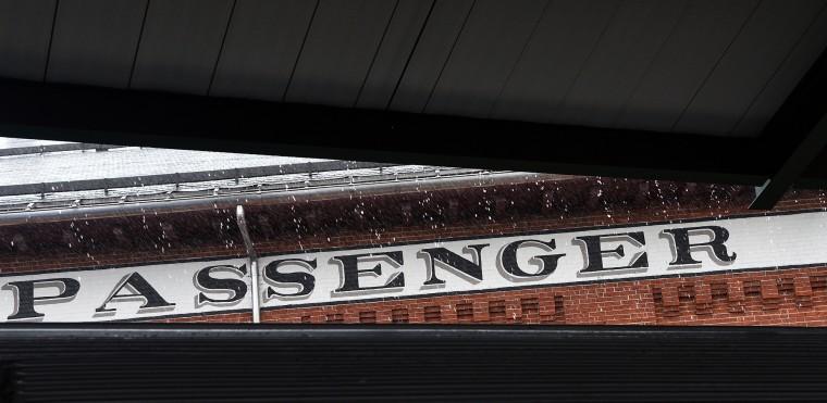 Rain falls on the passenger terminal roof at the B&O Railroad Museum. (Barbara Haddock Taylor/Baltimore Sun)
