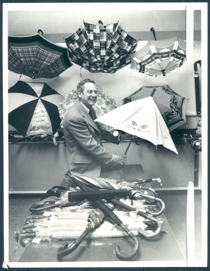 Umbrellas in photo dated November 22, 1976. (Baltimore Sun)