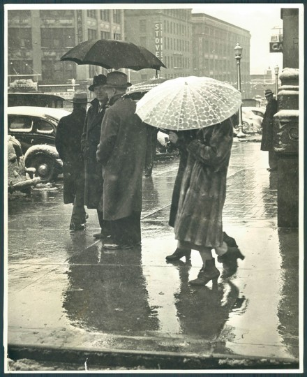 Umbrellas seen in Baltimore, April 9, 1938. (Baltimore Sun)