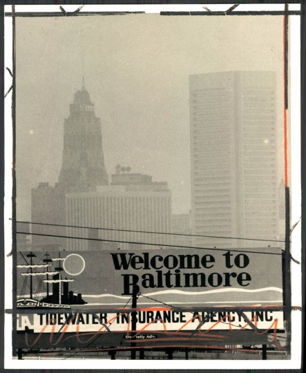 WELCOME TO . . . --Baltimore lurks somewhere within the grey haze behind the sign on the Westport approach to the city. Smog is to continue through tomorrow. Photo dated July 10, 1973. (Baltimore Sun)