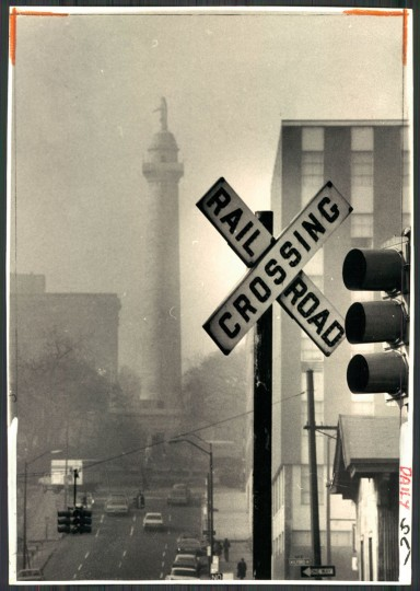 Haze over Washington Monument in Baltimore, photo dated January 19m 1973. (Baltimore Sun archives)