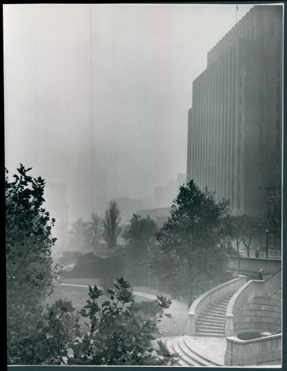 Smog over Baltimore, view from Preston Gardens. November 19, 1951. (Klender/Baltimore Sun)