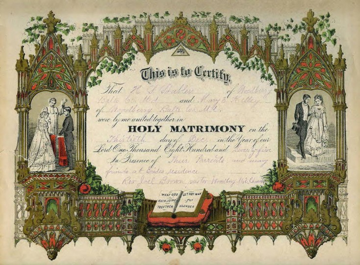 Marriage certificate of H.S. Stabler and Mary E. Kelley, dated December 13, 1875, signed by Rev. Joel Brown, Woodberry M.E. Church. From family Bible. Gift of Mrs. Carl Fadely. (Photo from the Baltimore Historical Society via Enoch Pratt Library)