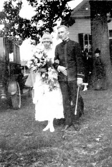 Black & white wedding portrait of Ensign Biays Shannon Bowerman & Mary Alice Moore at time of wedding, September 19, 1919, at Camp Chapel United Methodist Church in Perry Hall. Gift of Mrs. Biays Shannon Bowerman. (Photo from the Baltimore Historical Society via Enoch Pratt Library)