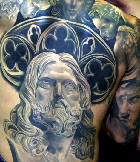 "Pictured is a portrait of Jesus Christ on the back of tattoo artist Jesus Kolors Lopez, 21, from Southern California. Lopez began drawing when he was 9 years old. He says, ""Tattooing came along my way when I as 17 years old. I took advantage of the opportunity. I'm proud of it...""  (Algerina Perna/Baltimore Sun)"