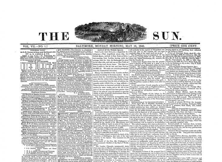 "The Baltimore Sun's slogan ""Light For All"" first appeared in the paper on May 18, 1840."