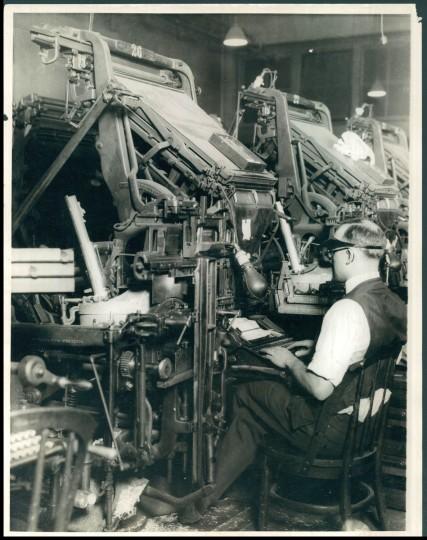 The Sun printing press, 1929.