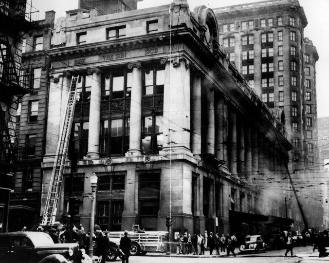 The Sunpapers Building on Old Baltimore and Charles streets was damaged by fire on Sept 29, 1939. (Sun file photo)