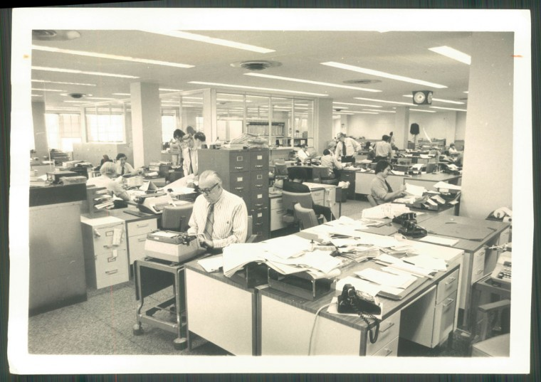 The Baltimore Sun newsroom in 1975