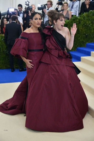 "NEW YORK, NY - MAY 01: Jenni Konner and Lena Dunham attend the ""Rei Kawakubo/Comme des Garcons: Art Of The In-Between"" Costume Institute Gala at Metropolitan Museum of Art on May 1, 2017 in New York City. (Photo by Theo Wargo/Getty Images For US Weekly)"