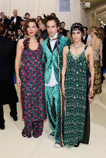 "NEW YORK, NY - MAY 01: (L-R) Maggie Gyllenhaal, Francesco Risso and Sofia Boutella attend the ""Rei Kawakubo/Comme des Garcons: Art Of The In-Between"" Costume Institute Gala at Metropolitan Museum of Art on May 1, 2017 in New York City. (Photo by Neilson Barnard/Getty Images)"