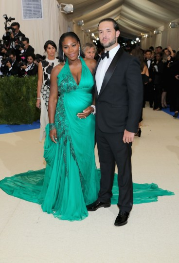 "NEW YORK, NY - MAY 01: Serena Williams (L) and Alexis Ohanian attend the ""Rei Kawakubo/Comme des Garcons: Art Of The In-Between"" Costume Institute Gala at Metropolitan Museum of Art on May 1, 2017 in New York City. (Photo by Neilson Barnard/Getty Images)"