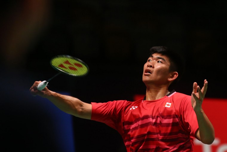 Jason Anthony Ho-Shue of Canada hits a return during the men's singles Sudirman Cup match against Anthony Joe of Australia (not pictured) at the Gold Coast Sports Centre on May 26, 2017. (Patrick Hamilton/AFP/Getty Images)