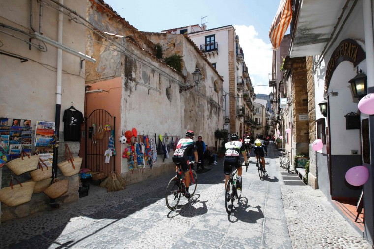 Riders go to the start of the 4th stage of the 100th Giro d'Italia, Tour of Italy, cycling race from Cefalu to Etna volcano, on May 9, 2017 in Sicily. (Luk Benies/AFP/Getty Images)