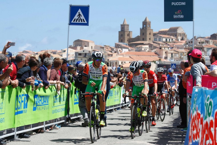 Riders of team Bardiani go to the start of the 4th stage of the 100th Giro d'Italia, Tour of Italy, cycling race from Cefalu to Etna volcano, on May 9, 2017 in Sicily. (Luk Benies/AFP/Getty Images)