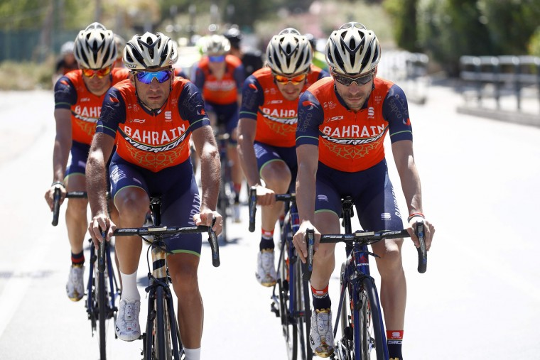 Italy's rider of team Bahrain - Merida Vincenzo Nibali and Giovanni Visconti (R) train with teammates on the first rest day of the 100th Giro d'Italia, Tour of Italy, on May 8, 2017 in Trabia, Sicily. (Luk Benies/AFP/Getty Images)