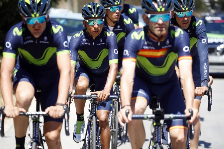Colombian rider Nairo Quintana (C) of team Movistar trains with teammates on the first rest day of the 100th Giro d'Italia, Tour of Italy, on May 8, 2017 in Trabia, Sicily. (Luk Benies/AFP/Getty Images)