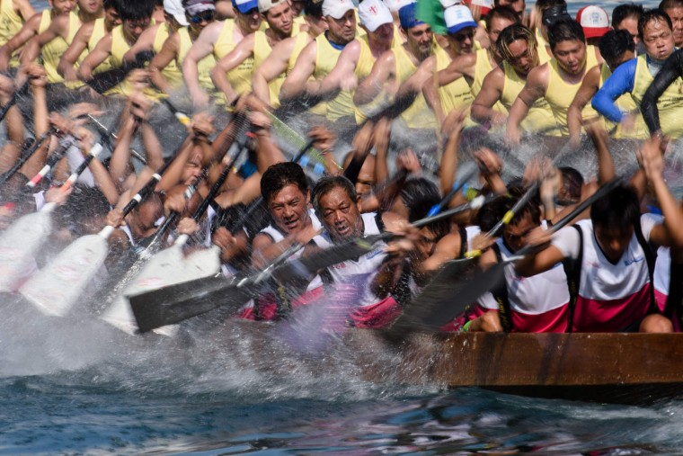 Competitors take part in the annual dragon boat race held to celebrate the Tuen Ng festival in Hong Kong on May 30, 2017. (Anthony Wallace/AFP/Getty Images)