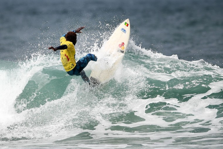 Senegal's Assane Mbenge competes in the heats 34 - Round 1 on May 23, 2027 in Biarritz, southwestern France, during the 2017 ISA World Surfing Games. (Franck Fife/AFP/Getty Images)