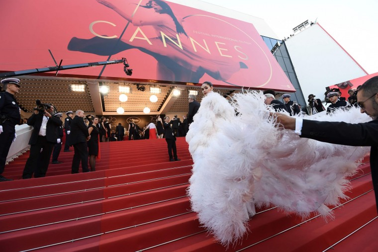 Thai actress Araya Alberta Hargate known as Chompoo poses as she arrives on May 17, 2017 for the screening of the film 'Ismael's Ghosts' (Les Fantomes d'Ismael) during the opening ceremony of the 70th edition of the Cannes Film Festival in Cannes, southern France. (Anne-Christine Poujoulat/AFP/Getty Images)