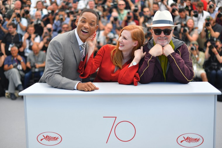 (From L) US actor and member of the Feature Film jury Will Smith, US actress and member of the Feature Film jury Jessica Chastain and Spanish director and President of the Feature Film Jury Pedro Almodovar pose on May 17, 2017 during a photocall ahead of the opening ceremony of the 70th edition of the Cannes Film Festival in Cannes, southern France. (Loic Venance/AFP/Getty Images)