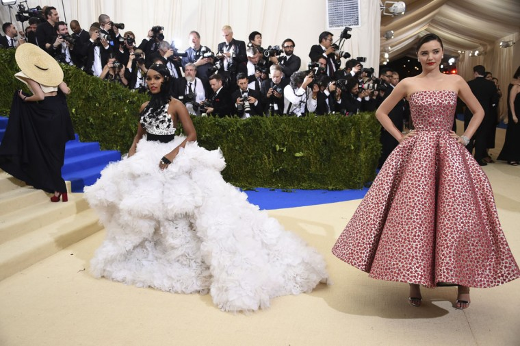 Janelle Monae, left, and Miranda Kerr attend The Metropolitan Museum of Art's Costume Institute benefit gala celebrating the opening of the Rei Kawakubo/Comme des GarÁons: Art of the In-Between exhibition on Monday, May 1, 2017, in New York. (Photo by Evan Agostini/Invision/AP)