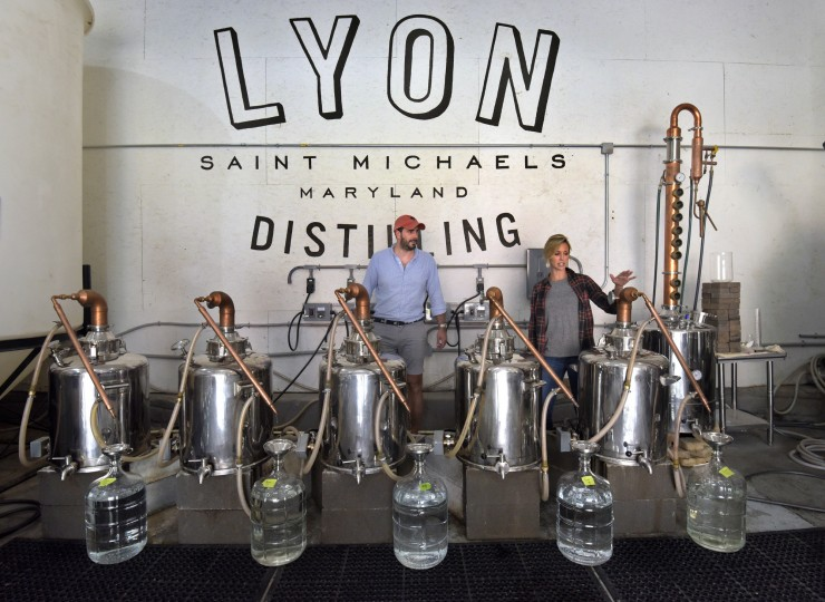Jaime Windon and Ben Lyon are owners of Lyon distilling Co, a small-batch craft distillery on Talbot Street. The company grew from 2 to 12 people in  4 years. They sell to liquor stores and bars in DC and Maryland in quantities from 1 gallon to 53 gallon-barrels. Five gallon and smaller is their focus. (Algerina Perna/Baltimore Sun)