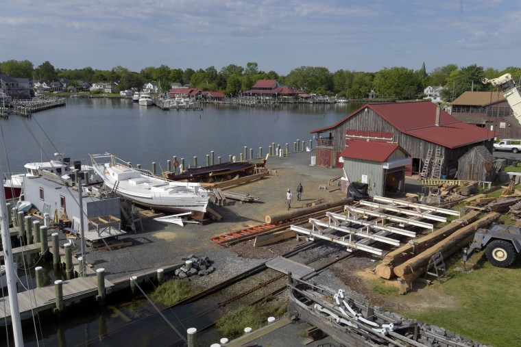 A view of St. Michaels is seen from the Hooper Straight Lighthouse. Chesapeake Bay Maritime Museum's working boatyard is in the foreground. In the background, restaurants and private homes border St. Michaels Harbor. (Algerina Perna/Baltimore Sun)