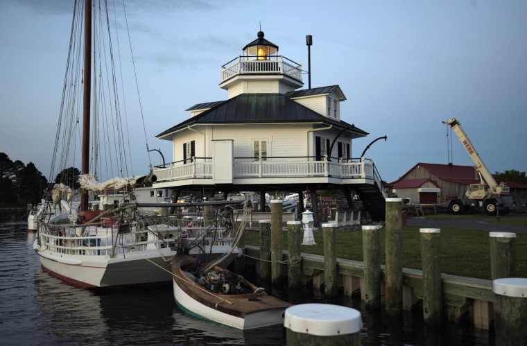 The 1879 Hooper Straight Lighthouse on the Chesapeake Bay Maritime Museum campus faces the Miles River. Its original location was forty miles south in Hooper straight and marked a hidden sand bar. (Algerina Perna/Baltimore Sun)