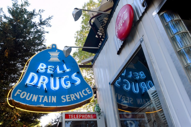 Norman James restored the neon in the 1952 Bell Drugs sign, from the pharmacy at Belair Road and Northern Parkway. It didn't ring, but the flashing neon outline around the bell made it a landmark. (Amy Davis / Baltimore Sun)