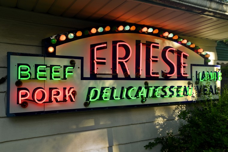The Friese Delicatessen was part of a four-sided sign that hung over a stall at the Cross Street Market. It dates from 1952, when the market was rebuilt after a fire. The multi-colored  incandescent bulbs scroll in sequence. (Amy Davis / Baltimore Sun)