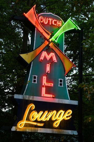 "The Dutch Mill Lounge sign, from around 1952, was at Harford Road and Northern Parkway. When the animated neon windmill blades light up in sequence they appear to be spinning. The sign can be seen in John Waters' movie, ""A Dirty Shame."" (Amy Davis / Baltimore Sun)"
