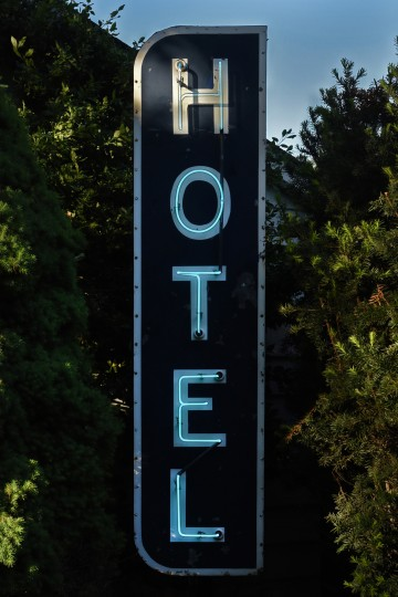 This classic pre-World War II vertical neon sign advertised the Hotel Preston in the 100 block of West Preston Street in Mount Vernon. (Amy Davis / Baltimore Sun)