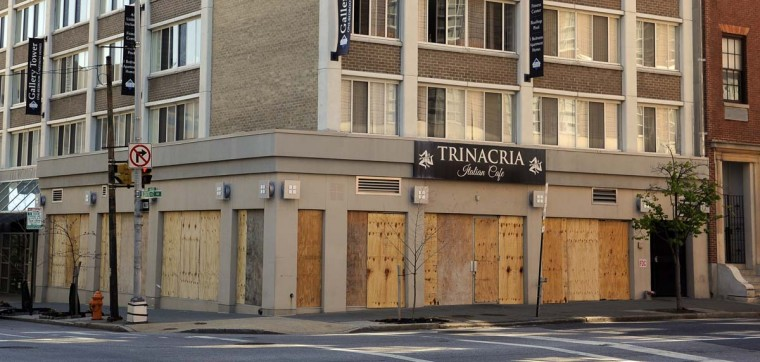 Trinacria Italian Cafe at Centre and Park is one of the businesses that were damaged in the April 2015 riots. (Barbara Haddock Taylor/Baltimore Sun)