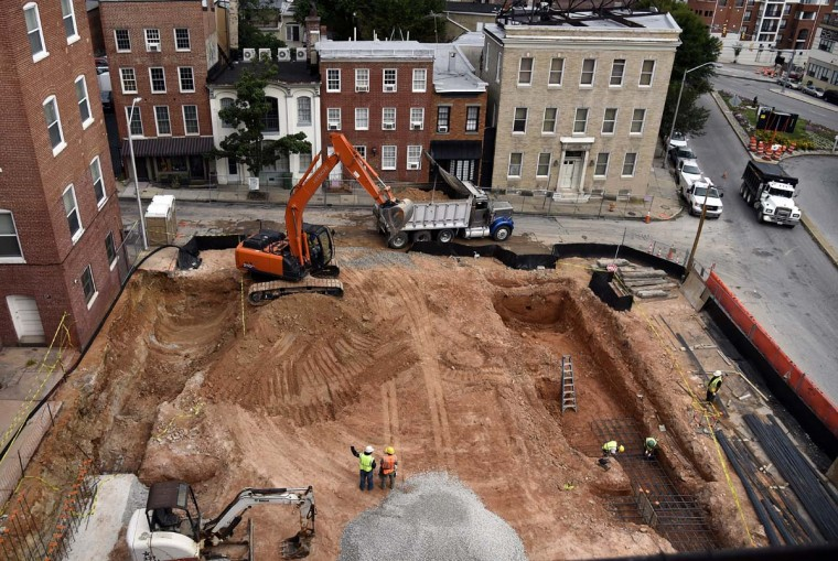 This is a view on September 15, 2016 of part of the site at 20 E. Franklin Street, which Osprey Property Companies is developing into 40 apartments. (Barbara Haddock Taylor/Baltimore Sun)